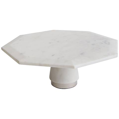 "Maison Home Hamon White Marble 10"" Octagonal Cake Stand"