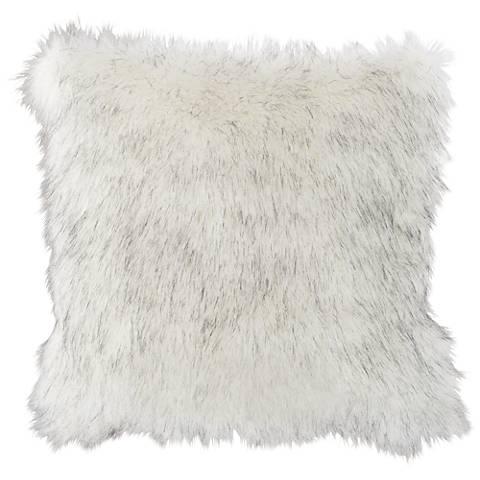 """Polar Bear White 18"""" Square Plush Faux Fur Pillow"""