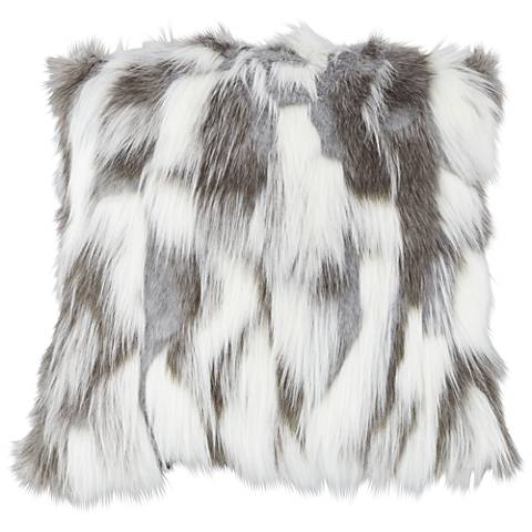 "Nordic Fox White and Gray 18"" Square Plush Faux Fur Pillow"