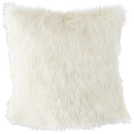 """Glamour Fox Ivory and Gold Specks 18""""W Faux Fur Pillow"""