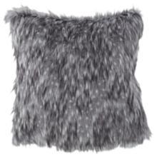 "Wolverine Gray 18"" Square Plush Faux Fur Pillow"