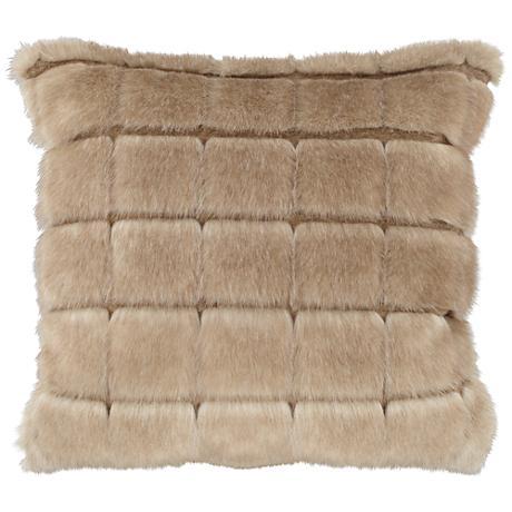 """Adele Warm Brown 18"""" Square Plush Faux Fur Pillow"""