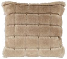 "Adele Warm Brown 18"" Square Plush Faux Fur Pillow"