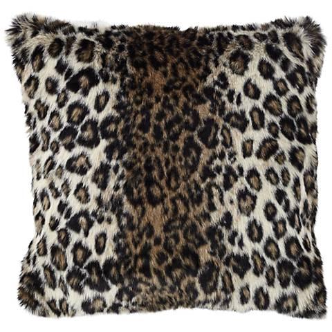 """Wild Leopard 18"""" Square Plush Faux Fur Pillow"""