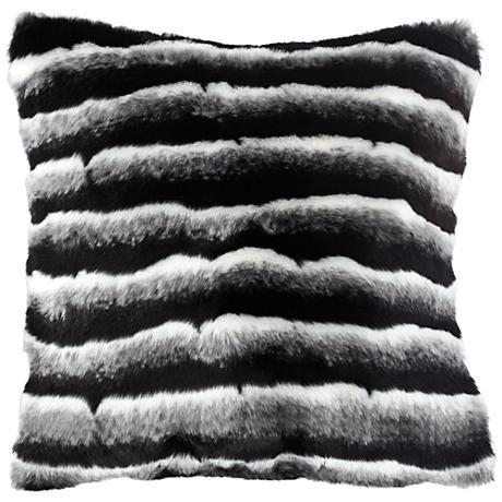 """Maki Black and Gray 18"""" Square Plush Faux Fur Pillow"""