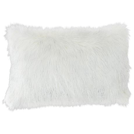 """Glamour Fox Ivory and Silver Specks 20""""W Faux Fur Pillow"""