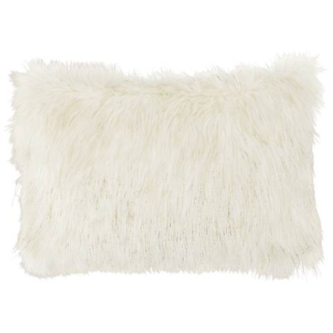 """Glamour Fox Ivory and Gold Specks 20""""W Faux Fur Pillow"""