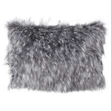 """Wolverine Gray 20"""" x 14"""" Plush Faux Fur Pillow"""