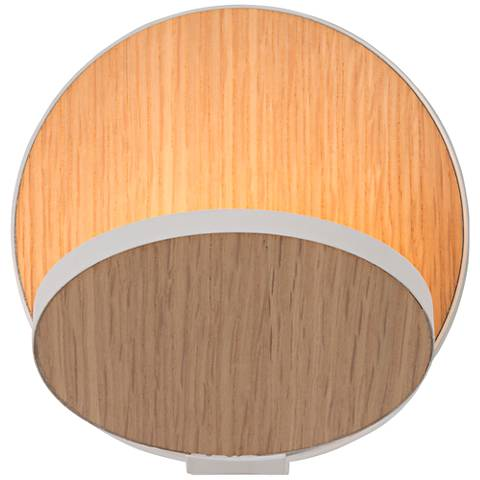 """Koncept Gravy 5""""-H White Oak Veneer Plug-In LED Wall Sconce"""