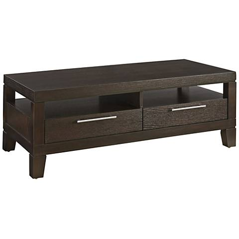 Cameron Anthracite Wood 2-Drawer Cocktail Table with Casters