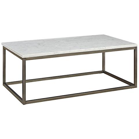 Alana Steel and White Marble Top Rectangular Coffee Table