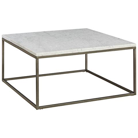 Alana Steel and White Marble Top Square Coffee Table