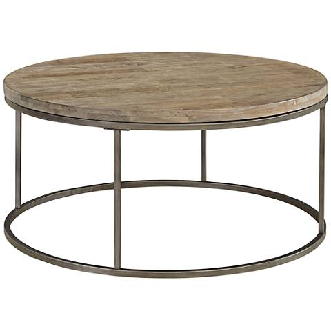 Alana Steel and Acacia Wood Top Round Coffee Table