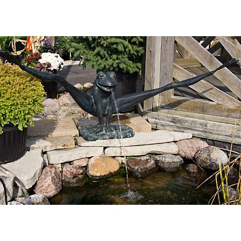 "Henri Studio Gymnastic Frog 19"" High Brass Outdoor Fountain"