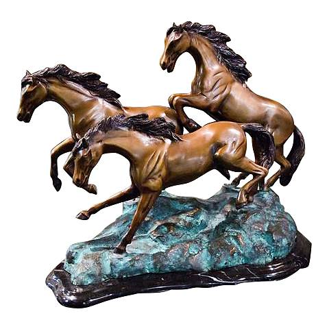 "Henri Studio 3 Galloping 13 1/2""W Bronze Horse Sculpture"