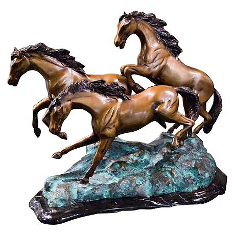 "Henri Studio 3 Galloping 13 1/2""W Bronze Horse Sculpture"