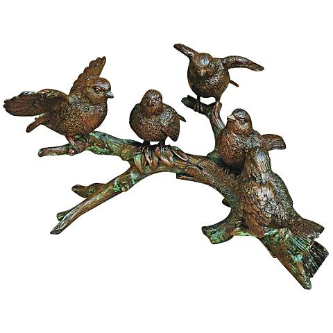 "Henri Studio 5-Bird Branch 12""W Bronze Wildlife Statue"