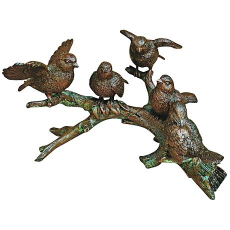 """Henri Studio 5-Bird Branch 12""""W Bronze Wildlife Statue"""