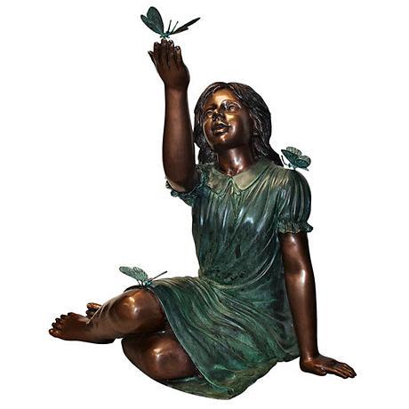"""Henri Studio Butterfly Girl 28"""" High Brass Garden Statue"""