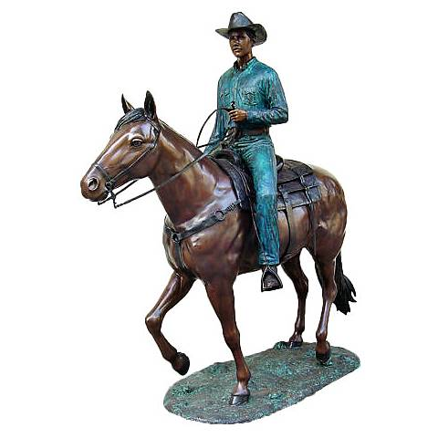 "Henri Studio Cowboy Jim 105"" High Brass Life-Size Statue"