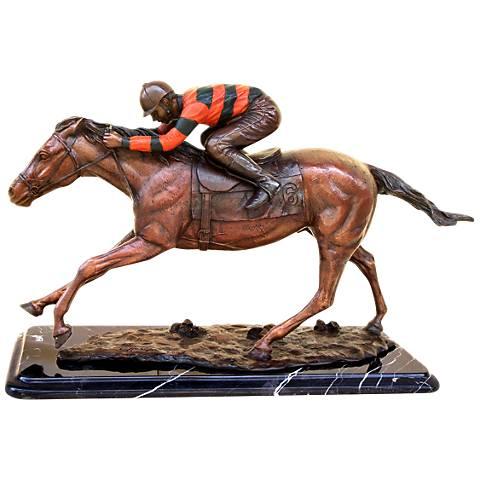 "Henri Studio Jockey on Horse 10"" High Tabletop Sculpture"