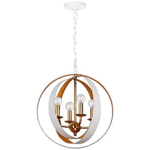 "Crystorama Luna 21""W White and Gold Rings Pendant Light"