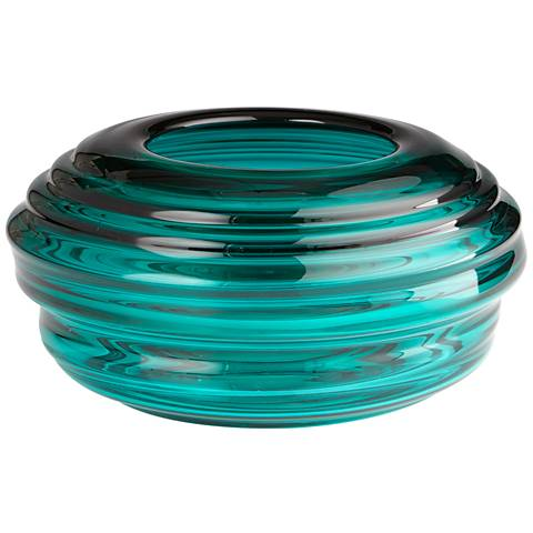 "Adair Turquoise Glass 15 1/2"" Wide Ridge Round Vase"