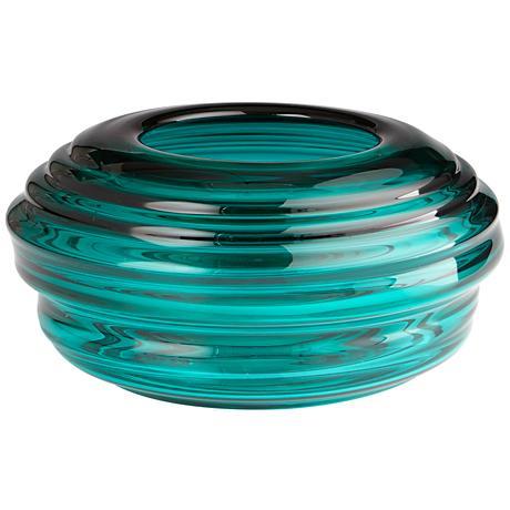 "Adair Turquoise Glass 15 1/2"" Wide Ridge Round Vase"