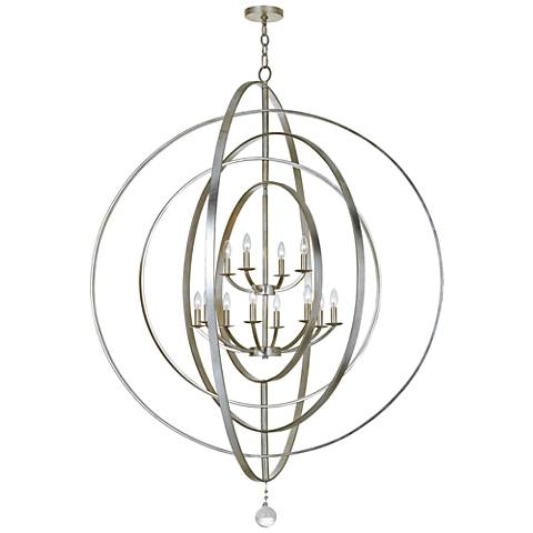 "Crystorama Luna 60""W Silver Rings 12-Light Foyer Pendant"