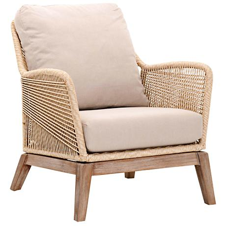 New Wicker Loom Mahogany and Sand Rope Club Chair