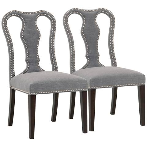 Villa Bloom Smoke Fabric Dining Chair Set of 2