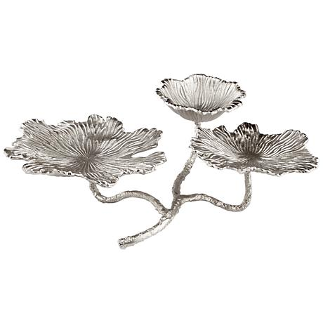 Flowers and Flame Nickel Votive Candle Holder