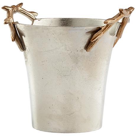 Antler Handle Nickel and Gold Bucket Container