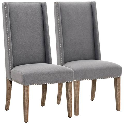 Traditions Morgan Heather Gray Fabric Dining Chair Set of 2
