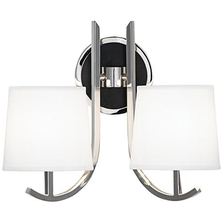 Lamps Plus Plug In Wall Sconces : Robert Abbey Francesco Nickel 2-Light Plug-In Wall Sconce - #1P529 Lamps Plus
