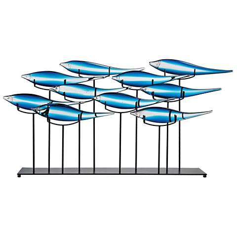 "Tultui Ice Blue Glass Fish 32"" Wide Tabletop Sculpture"