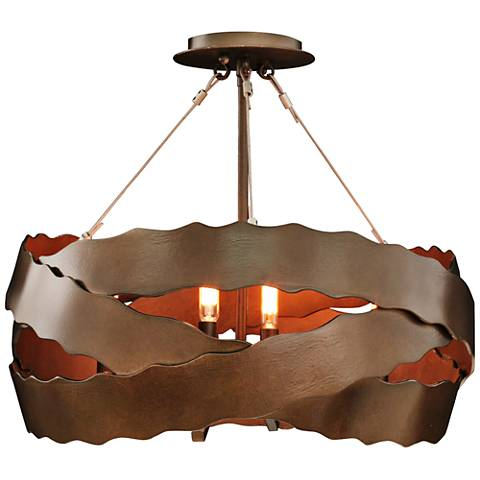 "Fulton 20"" Wide Brownstone Wrapped Iron Ceiling Light"