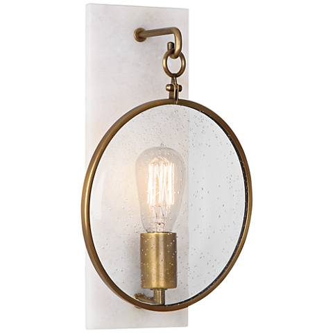 "Fineas 14 1/4"" High Alabaster-Bronze Plug-In Wall Sconce"