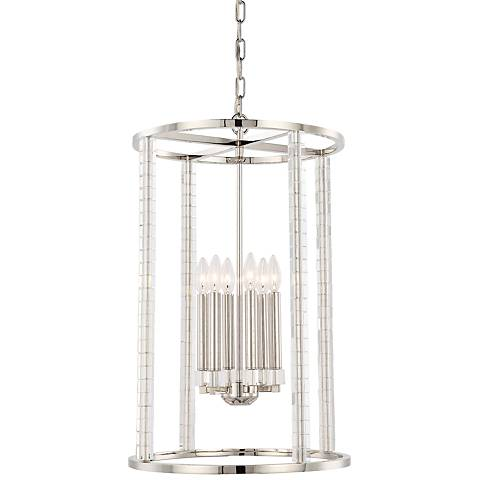 "Crystorama Carson 18"" Wide Polished Nickel Foyer Pendant"