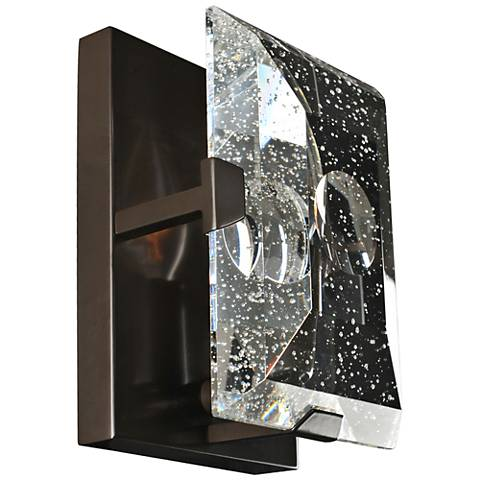 "Giada 6 3/4""H Bubble Crystal Slab Dark Bronze Wall Sconce"