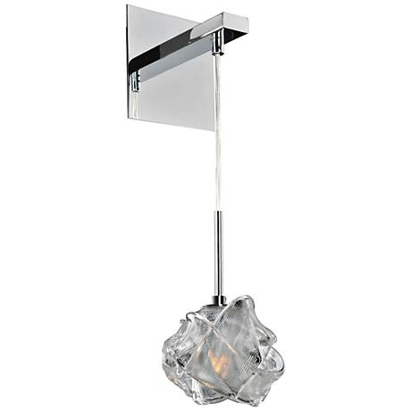 """Azure Chrome 16"""" High Wrapped Ribbon Glass Wall Sconce"""