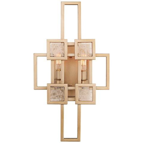 "Metropolis 17 1/2"" High Modern Gold 2-Light Wall Sconce"