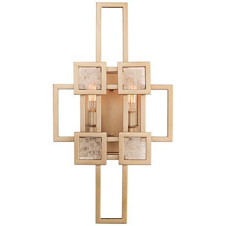 """Metropolis 17 1/2"""" High Modern Gold 2-Light Wall Sconce"""