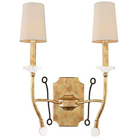 """Waverly 22""""H Honey Gold Forged Iron 2-Light Wall Sconce"""