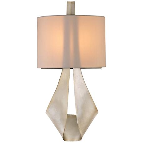 """Barrymore 18 1/4""""H Silk Shade Pearl Silver Wall Sconce"""