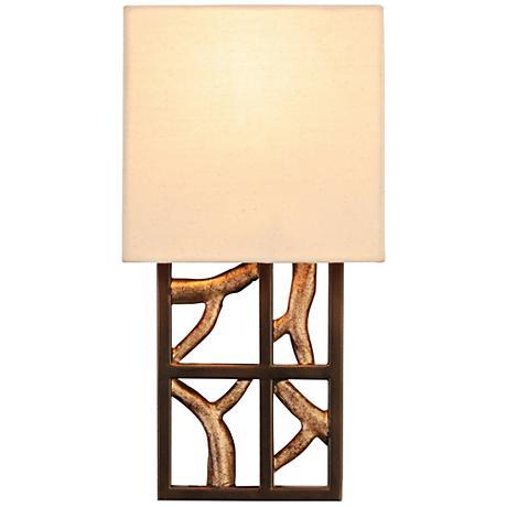 """Hudson 13""""H 1-Light Bronze Iron Beige Linen Wall Sconce"""