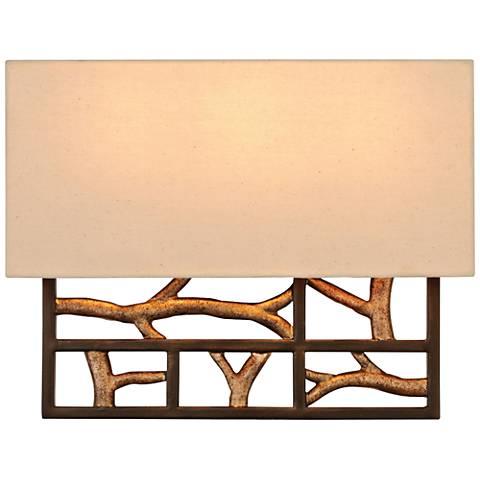 """Hudson 11""""H 3-Light Bronze Iron Beige Linen Wall Sconce"""