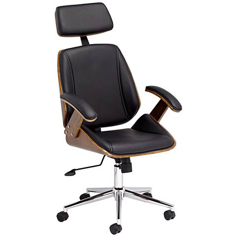 Tatulli Modern Black Faux Leather Office Chair