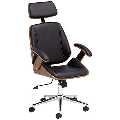 Tatulli Modern Black Faux Leather Office Chair