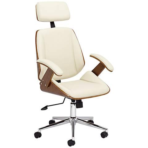Tatulli Modern Cream Faux Leather Office Chair